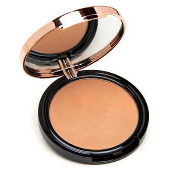 An open circular cosmetic compact on a white background. Inside the compact is a bronzer in our Rapture shade - a medium matte bronze.