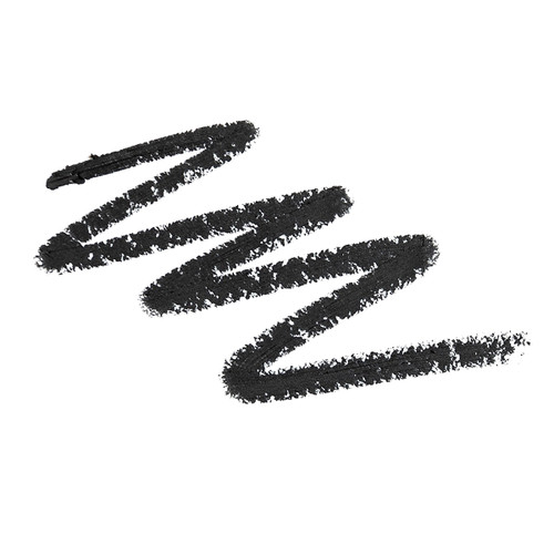 """A zig-zag scribble of Flaunt eye pencil in """"Matrix"""", a cool midnight black, over a white background, showcasing the pencil pigment."""