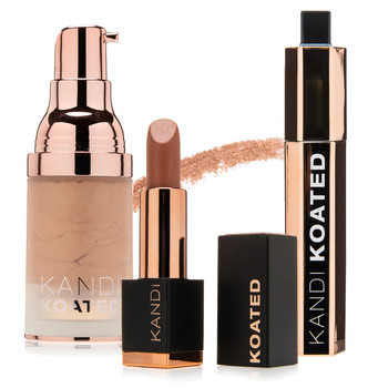 """An image of Kandi Koated DRAMA mascara, Dazzle liquid shimmer in """"Turned On"""" and Satin lipstick in """"Devotion"""" all standing on a white background."""