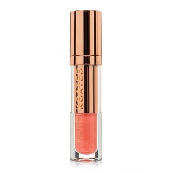 "A closed clear and rose gold tube of Glaze lip shine in ""Platonic"", a glittering light coral pink. The tube has Kandi Koated written up the side and a rose gold cap."