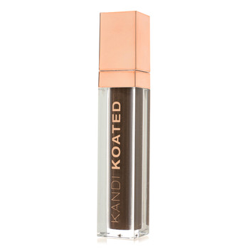 "A closed rectangular clear tube of High Brow brow tint with a rose gold cap and Kandi Koated printed on the side. The color showing through is ""On Fleek"""