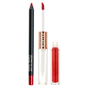 "An image of an open tube of SLAY in ""Hedonistic"" - a vivid red, with true red ""Candy Apple"" Edge lip pencil"