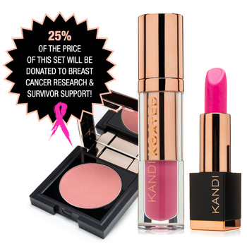 An image of pink lipstick, lip shine and blush for our Kandi Koated Thriver Energy donation gift set
