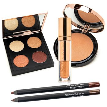 An image of the bronzing powder, eyeshadow, lip gloss, and eye and lip pencils composing the Shades of Melanin gift set from Kandi Koated